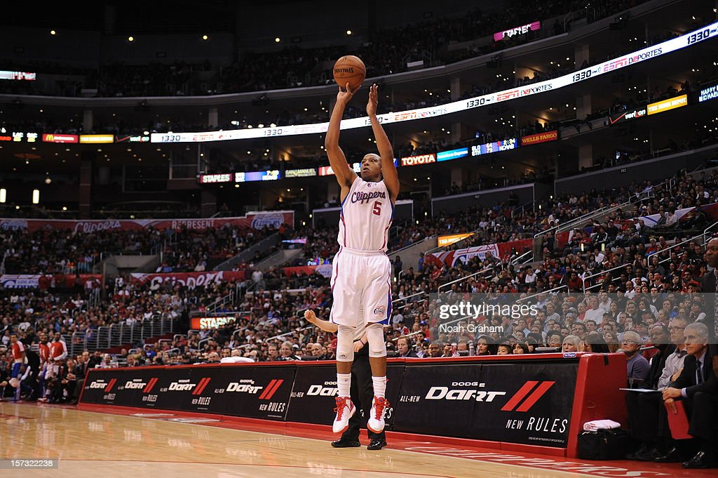 Caron Butler #5 of the Los Angeles Clippers goes for a jump shot during the game between the Los Angeles Clippers and the Sacramento Kings at Staples Center on December 1, 2012 in Los Angeles, California.