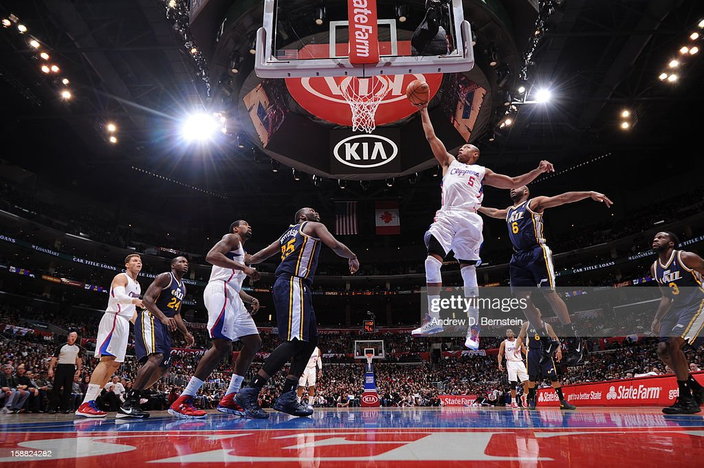 Caron Butler #5 of the Los Angeles Clippers goes to the basket during the game between the Los Angeles Clippers and the Utah Jazz at Staples Center on December 30, 2012 in Los Angeles, California.