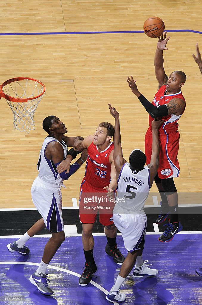 <a gi-track='captionPersonalityLinkClicked' href=/galleries/search?phrase=Caron+Butler&family=editorial&specificpeople=201744 ng-click='$event.stopPropagation()'>Caron Butler</a> #5 of the Los Angeles Clippers shoots against <a gi-track='captionPersonalityLinkClicked' href=/galleries/search?phrase=John+Salmons&family=editorial&specificpeople=202524 ng-click='$event.stopPropagation()'>John Salmons</a> #5 of the Sacramento Kings on March 19, 2013 at Sleep Train Arena in Sacramento, California.