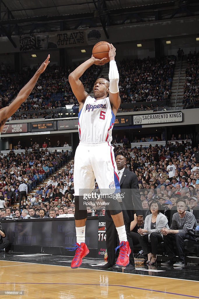 Caron Butler #5 of the Los Angeles Clippers shoots the ball against the Sacramento Kings on April 17, 2013 at Sleep Train Arena in Sacramento, California.