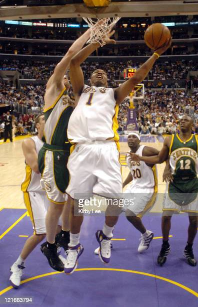 Caron Butler of the Los Angeles Lakers takes a shot during the game between the Seattle SuperSonics and the Los Angeles Lakers at the Staples Center...