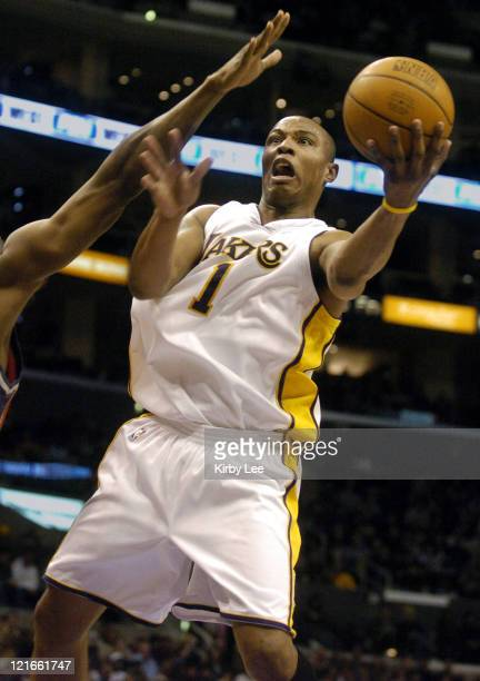 Caron Butler of the Los Angeles Lakers takes a shot during the NBA game between the Los Angeles Lakers and the Charlotte Bobcats at the Staples...