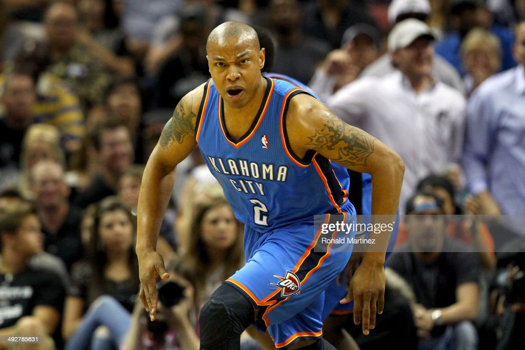 <a gi-track='captionPersonalityLinkClicked' href=/galleries/search?phrase=Caron+Butler&family=editorial&specificpeople=201744 ng-click='$event.stopPropagation()'>Caron Butler</a> #2 of the Oklahoma City Thunder reacts in the first half while taking on the San Antonio Spurs in Game Two of the Western Conference Finals during the 2014 NBA Playoffs at AT&T Center on May 21, 2014 in San Antonio, Texas.