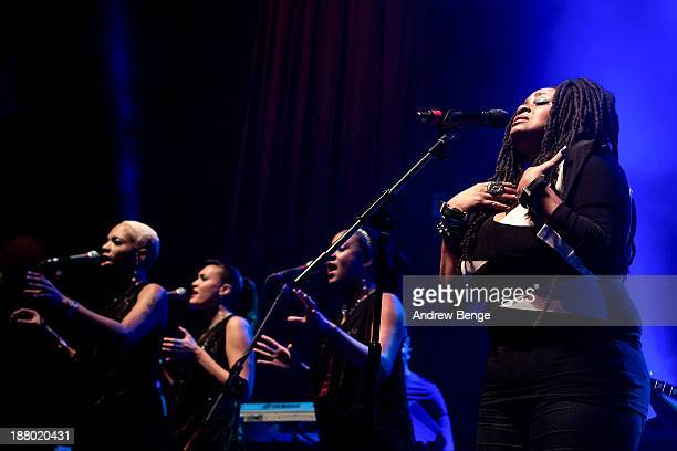 Caron Wheeler of Soul II Soul performs on stage at The Ritz Manchester on November 14 2013 in Manchester United Kingdom