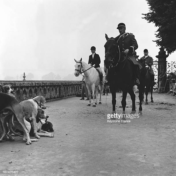 Carouge Castle Hunting Face To Face Between A Guard And His Dogs In Normandy In France During Fifties