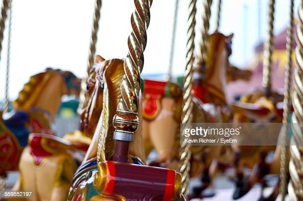 Carousel Horses In Amusement Park