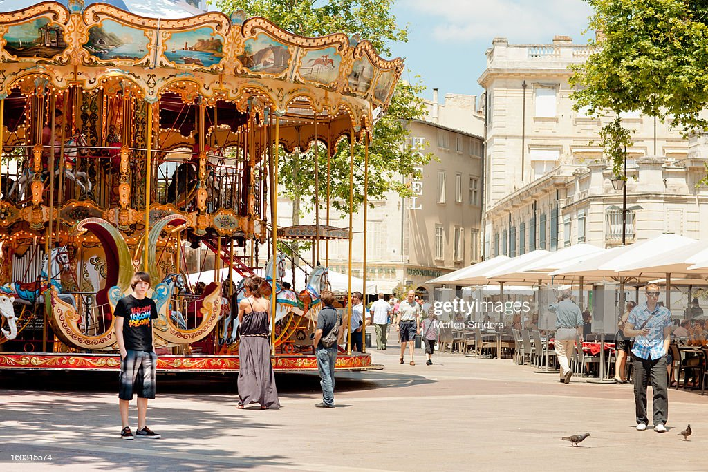 Carousel ride on Avignon Town Square