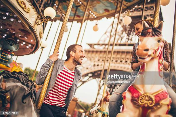 Carousel ride under the Eiffel Tower