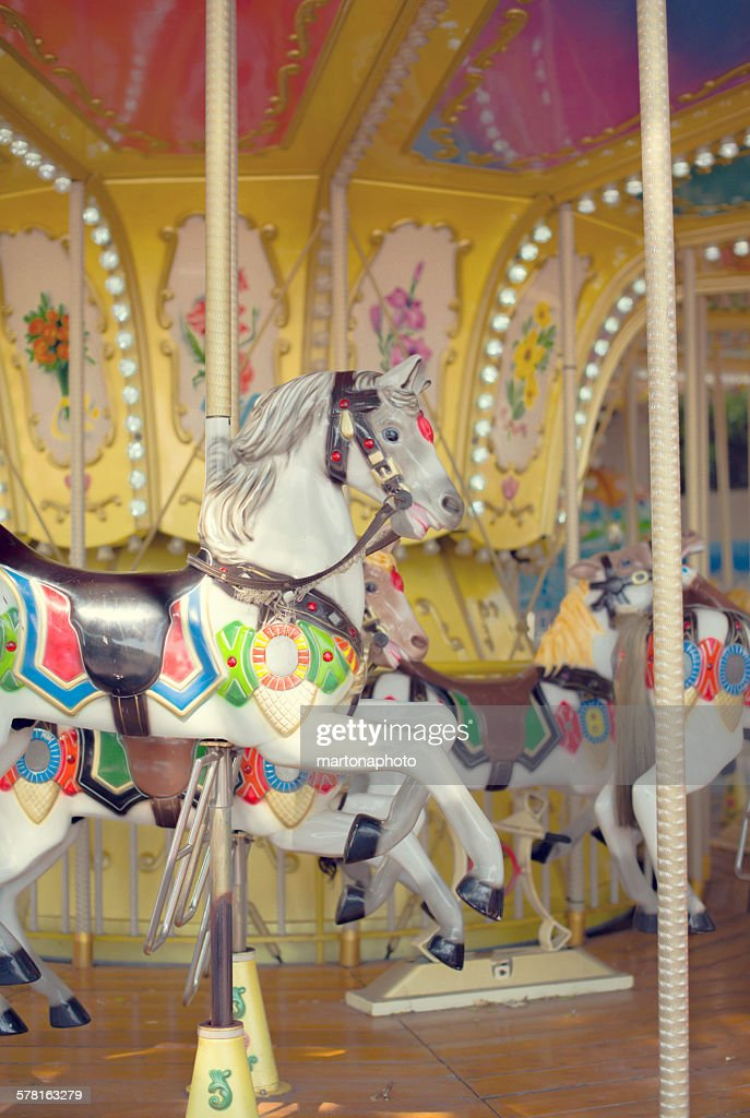 Carousel with several horses : Foto de stock