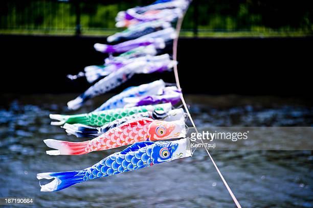 Carp streamers hang during the 'Koinobori' festival at Tsuruuda River on April 22 2013 in Tatebayashi Japan Traditionally people hang carp streamers...