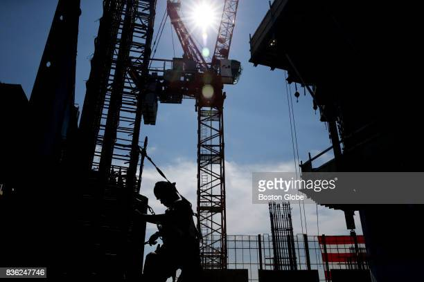 Carpenter Andral LaFleur works on a column on the first floor at One Dalton Street in Boston Aug 17 2017 The 65story building will become the Four...