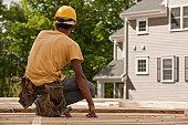 Carpenter at a construction site