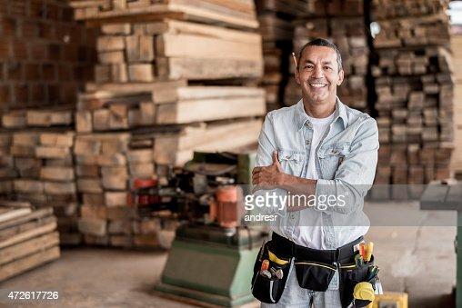 Carpenter at his workshop