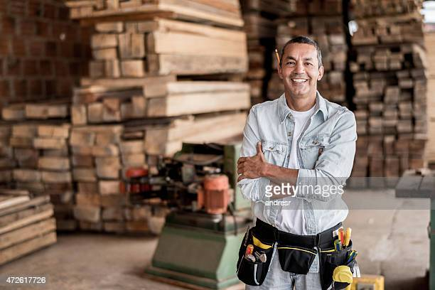 Carpenter at his workshop