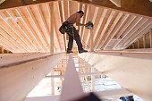Carpenter building a house