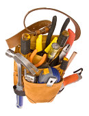 Carpenter; Electrician Tool Belt and Tools - Wide Angle - Overhead View - Isolated on White