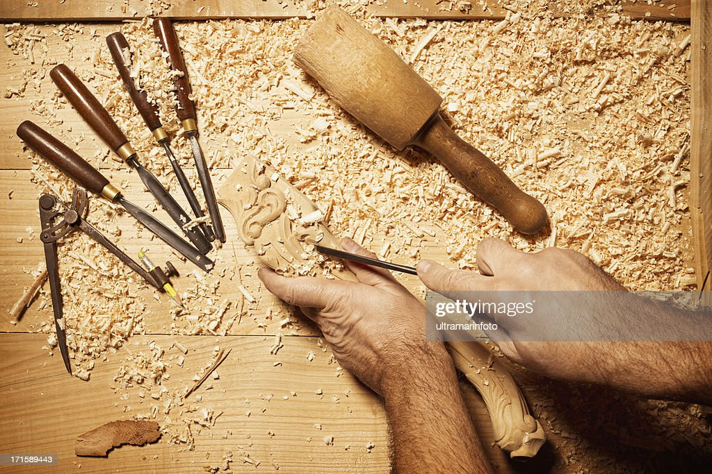 Carpenter working with his tools
