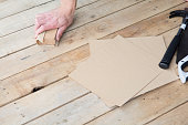 Man working with sand paper in carpentry trade
