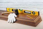 Carpenter concept.Tools for laying laminate flooring.Copy space for text.