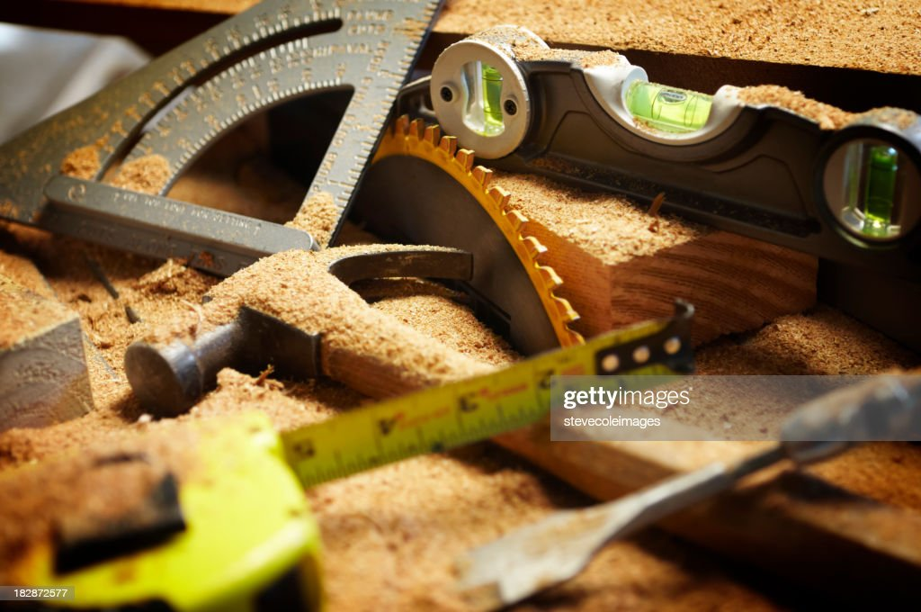 Carpentry Tools Covered in Sawdust