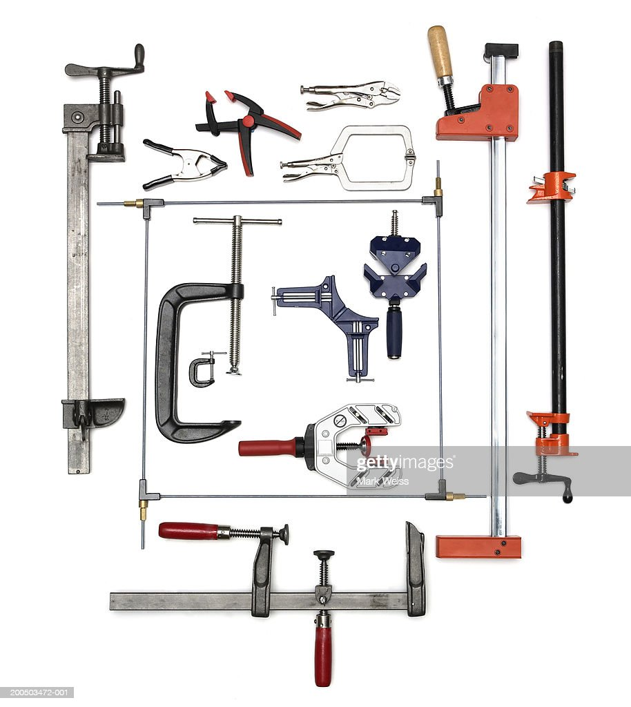Carpentry wood clamps, overhead view : Stock Photo