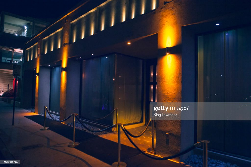 Carpet and velvet rope outside nightclub : Stock Photo
