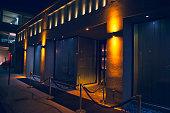 Carpet and velvet rope outside nightclub