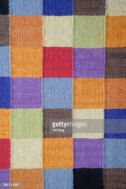 エンディコットアーム模様のラグの上にスクエア編みこみモダンなカラーブロックパターンの繊維