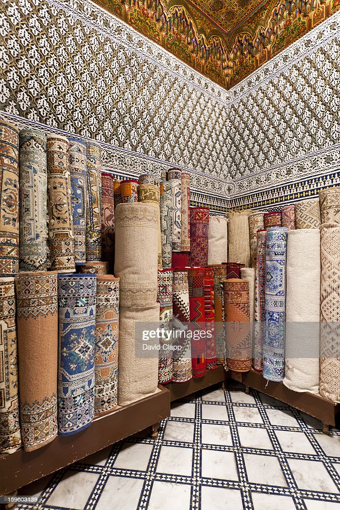 Carpet shop in Fes, Morocco, North Africa : Stock Photo
