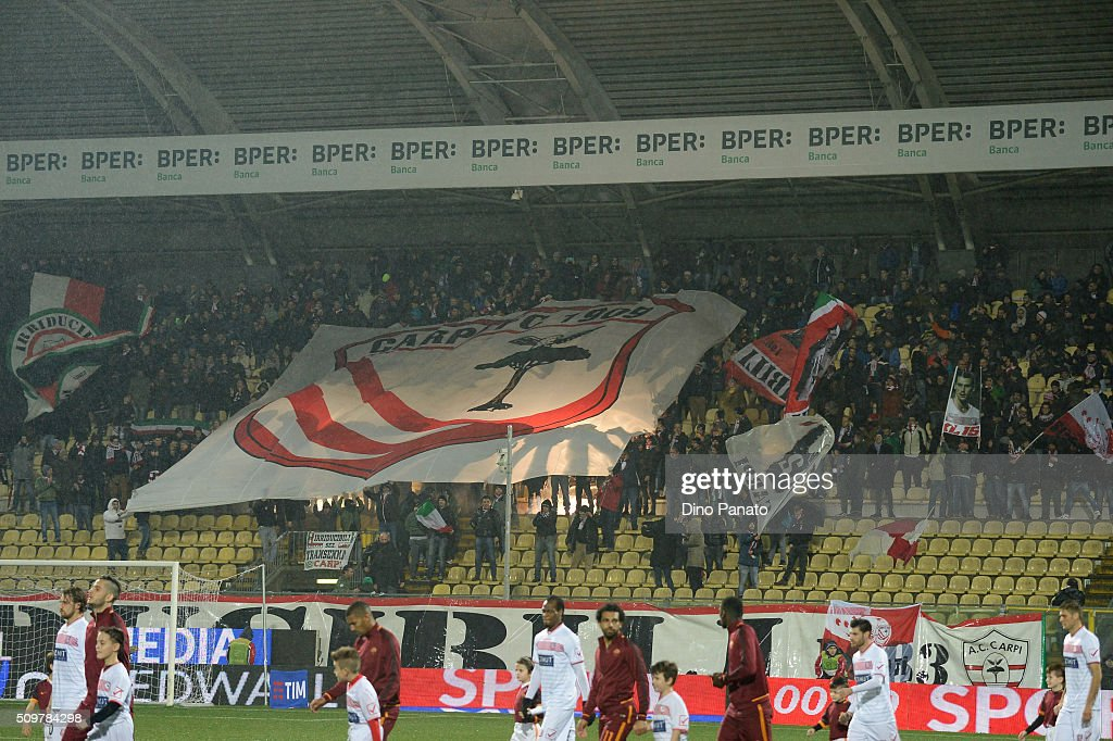 Carpi fans shows their support during the Serie A match between Carpi FC and AS Roma at Alberto Braglia Stadium on February 12, 2016 in Modena, Italy.