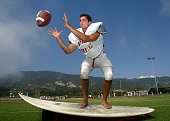 Carpinteria High linebacker Joel Carty who is a top football player and surfer Maybe get him with his surfboard For Sondheimer column Contact is...