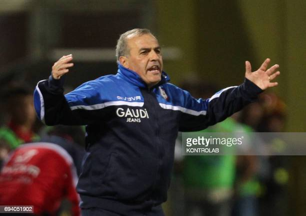 STADIUM BENEVENTO CAMPANIA ITALY Carpi's Italian coach Fabrizio Castori gestures during the Italian Serie B Play Off football match for the promotion...