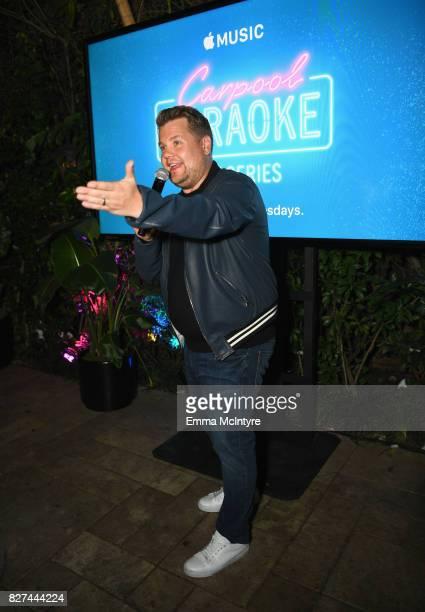 Carpool Karaoke Series Executive Producer James Corden speaks at Apple Music Launch Party Carpool Karaoke The Series with James Corden on August 7...