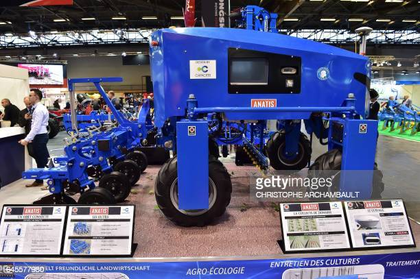 A Carre Anatis weeding robot is displayed during the SIMA Paris International agribusiness show at the Parc des Expositions Paris Nord in Villepinte...