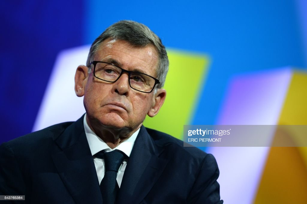 Carrefour Chairman and CEO Georges Plassat attends a session at the Viva Technology event in Paris on June 30, 2016. / AFP / ERIC