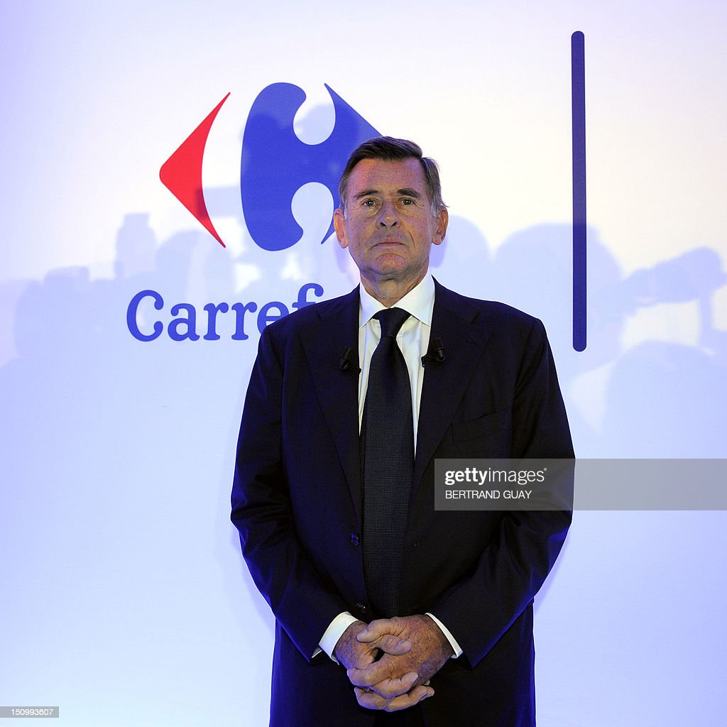 Carrefour retailing group CEO Georges Plassat poses prior to present the group's results for 2012's first-half on August 30, 2012 in Paris. AFP PHOTO BERTRAND GUAY