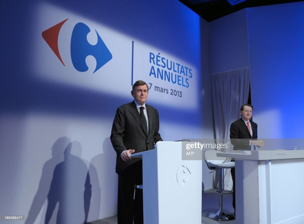 Carrefour retailing group chief operating officer Georges Plassat (L) and chief financial officer Pierre-Jean Sivignon prepare to give a press conference on March 7, 2013 to present the group's 2012 results in Paris .