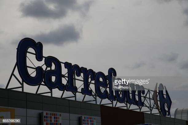 Carrefour supermarket sign in Bydgoszcz Poland on 19 March 2017