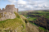 Carreg Cennen is situated near the River Cennen, in the village of Trap. The castle was surrendered to Owain Glyndwr in 1403 after a siege. It was destroyed after the Wars of the Roses in 1461