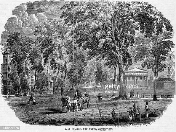 A carriage carries a couple down a wide avenue at Yale College in New Haven Connecticut in 1853 The college was founded in 1700