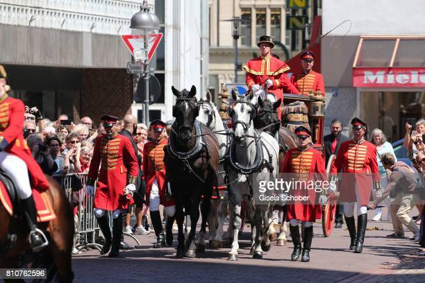 Carriage during the wedding of Prince Ernst August of Hanover Duke of BrunswickLueneburg and his fiancee Ekaterina Malysheva at Hanover Market Church...