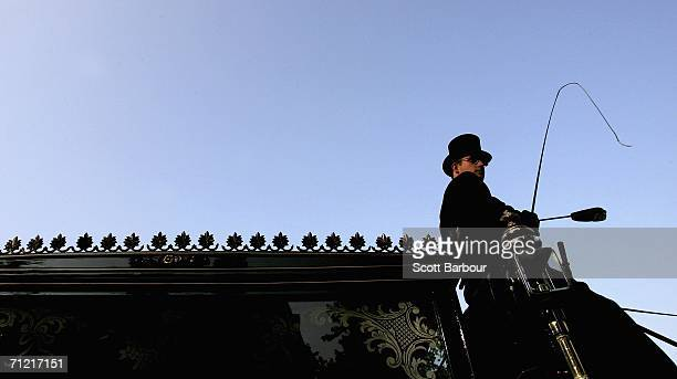 Carriage master Nick Rayfield leaves F A Albin Sons funeral home on a 200 year old horse drawn hearse on June 16 2006 in London England Despite the...