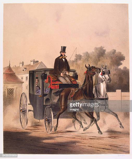 Carriage with a coachman on the way through a suburb of Vienna 1860 Color lithograph by Anton Zampis