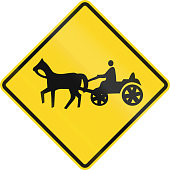 Canadian road warning sign - Horse drawn vehicles ahead. This sign is used in Ontario.