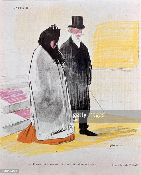 Carricature sur l'affaire Dreyfus 'Encore une maison où nous ne dinerons plus' représentant la division des français réalisée par Jean Louis Forain...