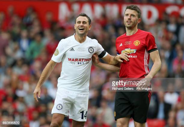 Carrick All Stars' Richard Garcia and Manchester United's Michael Carrick