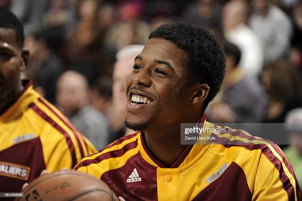 <a gi-track='captionPersonalityLinkClicked' href=/galleries/search?phrase=Carrick+Felix&family=editorial&specificpeople=7544639 ng-click='$event.stopPropagation()'>Carrick Felix</a> #30 of the Cleveland Cavaliers smiles during the game against the Miami Heat at The Quicken Loans Arena on November 27, 2013 in Cleveland, Ohio.