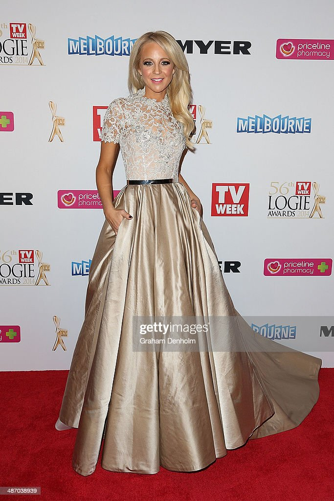 <a gi-track='captionPersonalityLinkClicked' href=/galleries/search?phrase=Carrie+Bickmore&family=editorial&specificpeople=4278314 ng-click='$event.stopPropagation()'>Carrie Bickmore</a> arrives at the 2014 Logie Awards at Crown Palladium on April 27, 2014 in Melbourne, Australia.