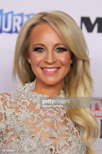Carrie Bickmore arrives at the 2014 Logie Awards at Crown Palladium on April 27 2014 in Melbourne Australia