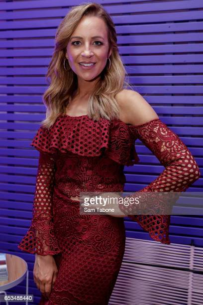 Carrie Bickmore entertained by the Virgin Aust Runway Bar arrives ahead of the VAMFF 2017 Premium International Designer Showcase 1 Indonesia runway...